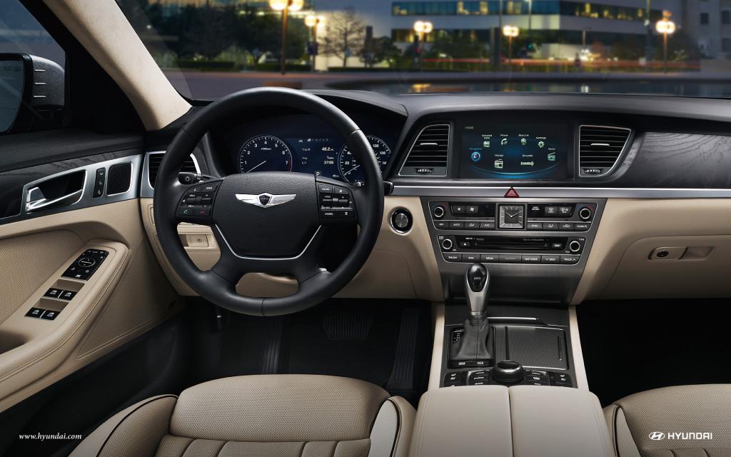 The luxurious interior of the 2016 Hyundai Genesis