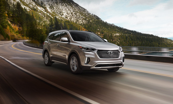 2017 Hyundai Santa Fe driving along a mountain road