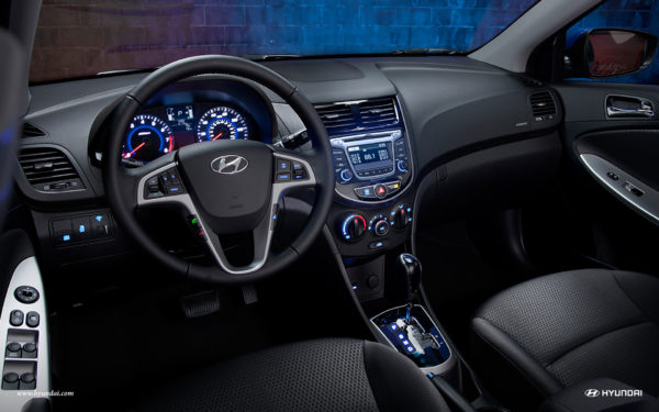 Interior of a Hyundai Accent showing Blluetooth technology
