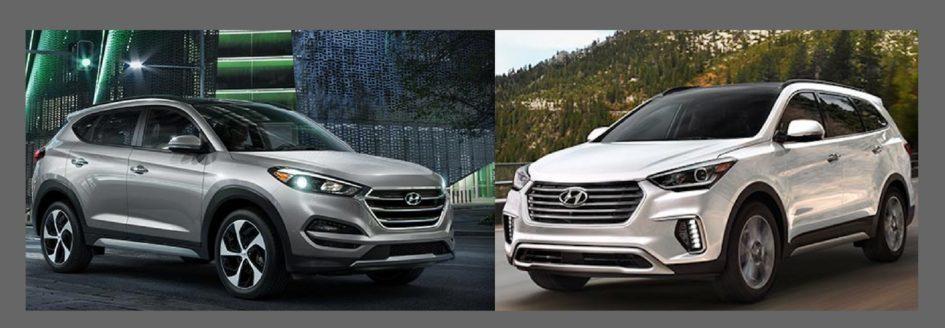 Hyundai Santa Fe (right) vs. Hyundai Tucson (left).