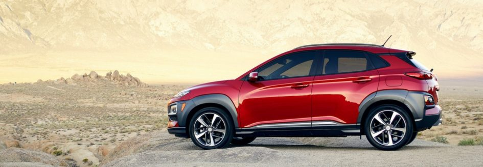 The all-new Hyundai Kona parked in the desert.