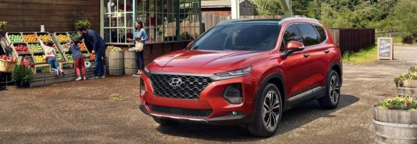 Orange 2019 Hyundai Santa Fe parked next to a roadside produce stand where a family is picking out fruit.